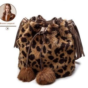 🆕Brown leopard print Faux Fur Bucket Shoulder Bag